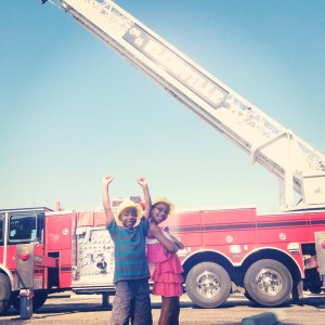 Children excited at the 2014 Touch A Truck event in Downtown Laurel.