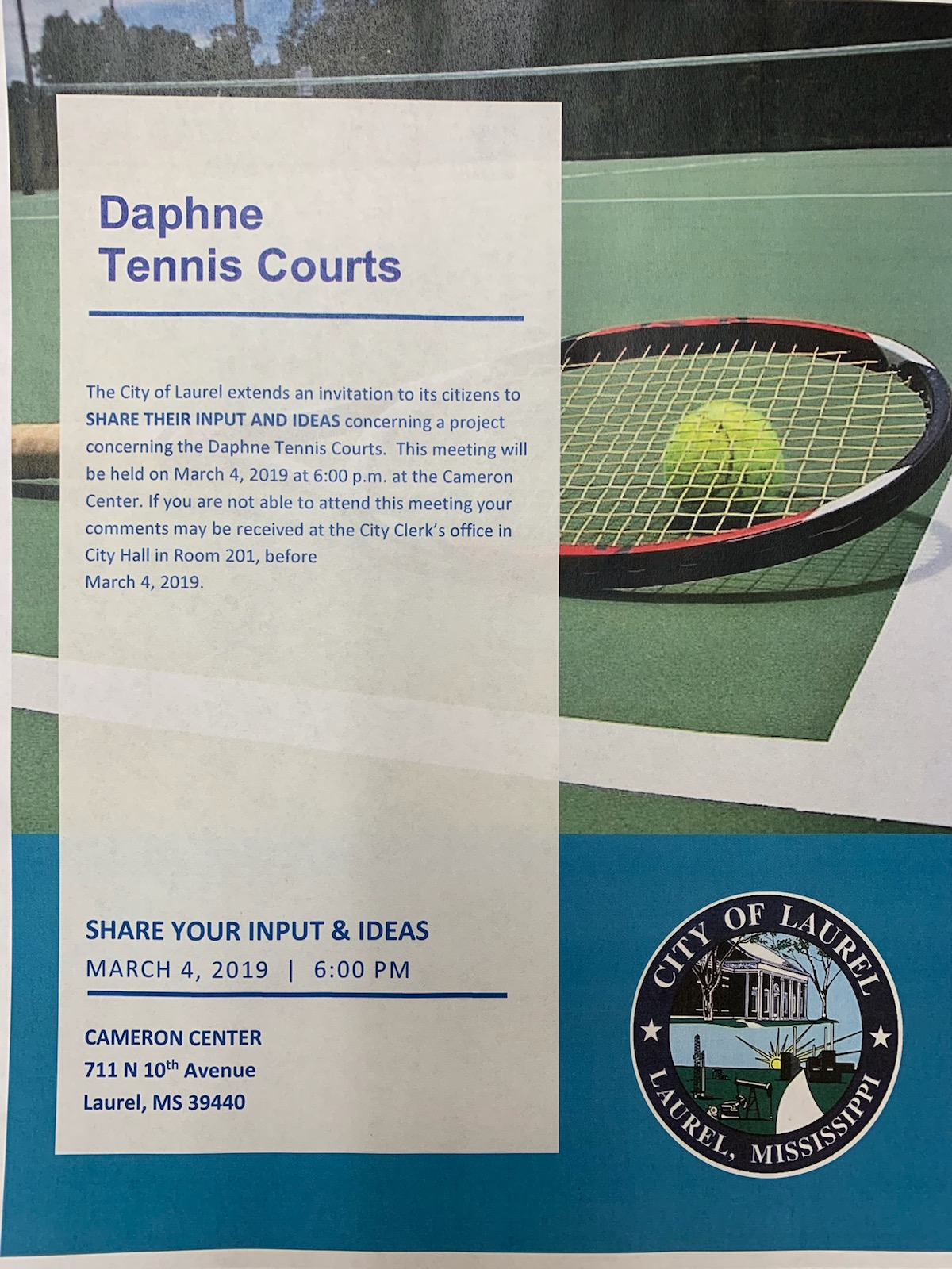 The City of Laurel, Daphne Park Tennis Courts