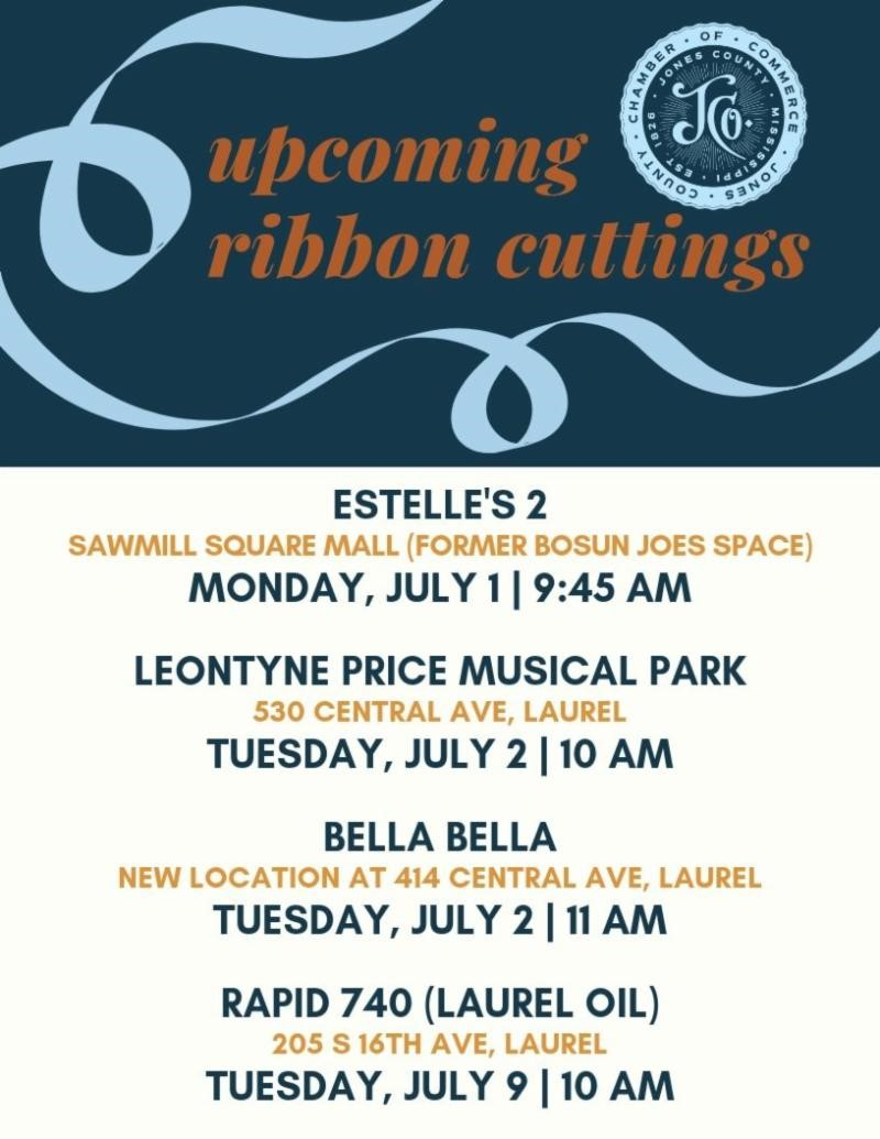 The City of Laurel, Upcoming Ribbon Cutting Events