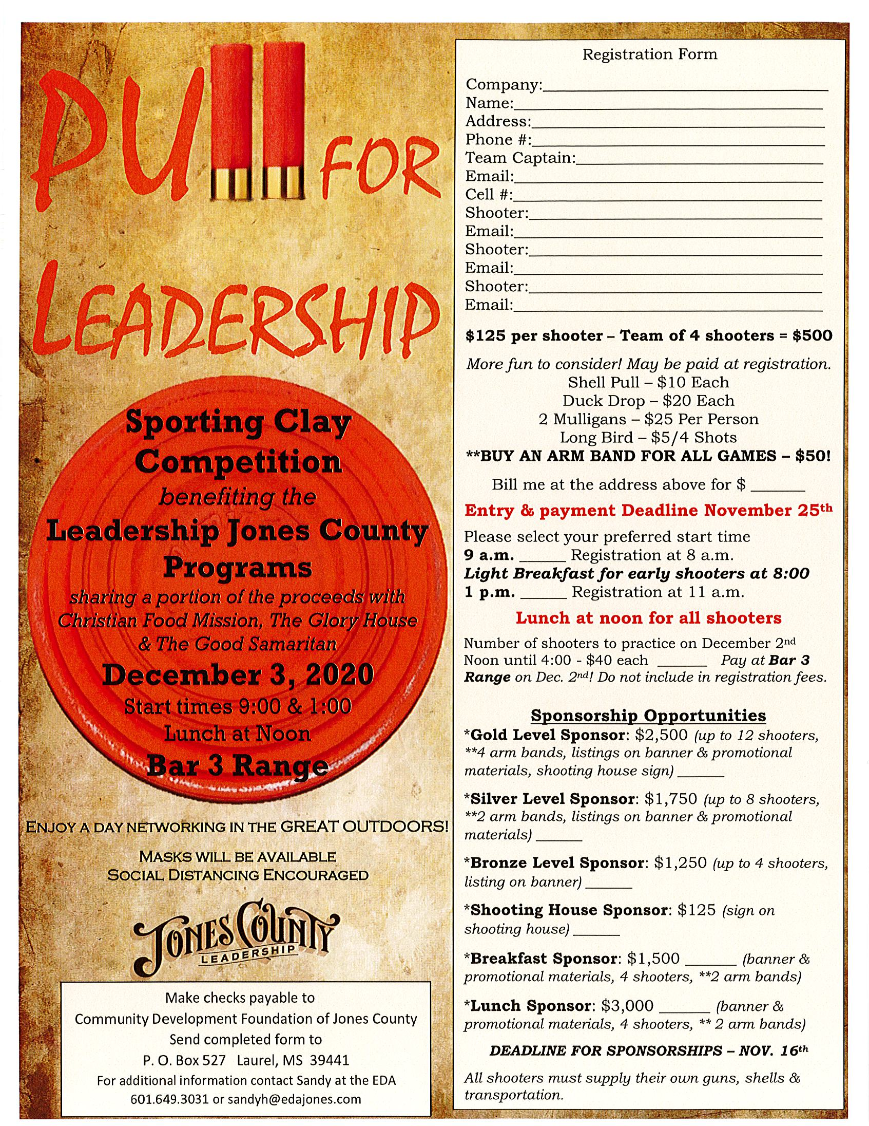The City of Laurel, Pull for Leadership Sporting Clay Competition benefiting the Leadership Jones County Programs
